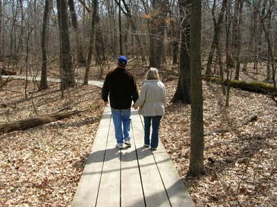 Paul and T on the hiking trail at Starved Rock