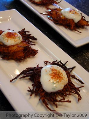 Potato Pancakes Hros d'Oeuvres with Yogurt and Chives