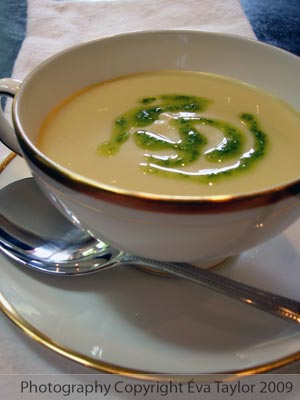 Cold Avocado Soup with Cilantro Oil