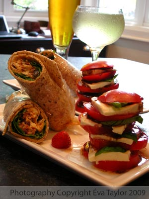 Wraps with Tomato and Buffalo Mozerella Tower