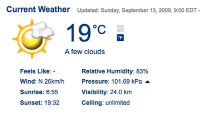 Weather Sunday Sept 13