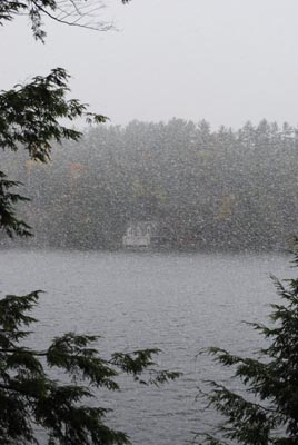 Snowing across Lake Rosseau Oct 11, 2009