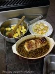 Monkfish with a green olive sauce, fingerling potatoes seared in olive oil and the seared scallops (for the soup)