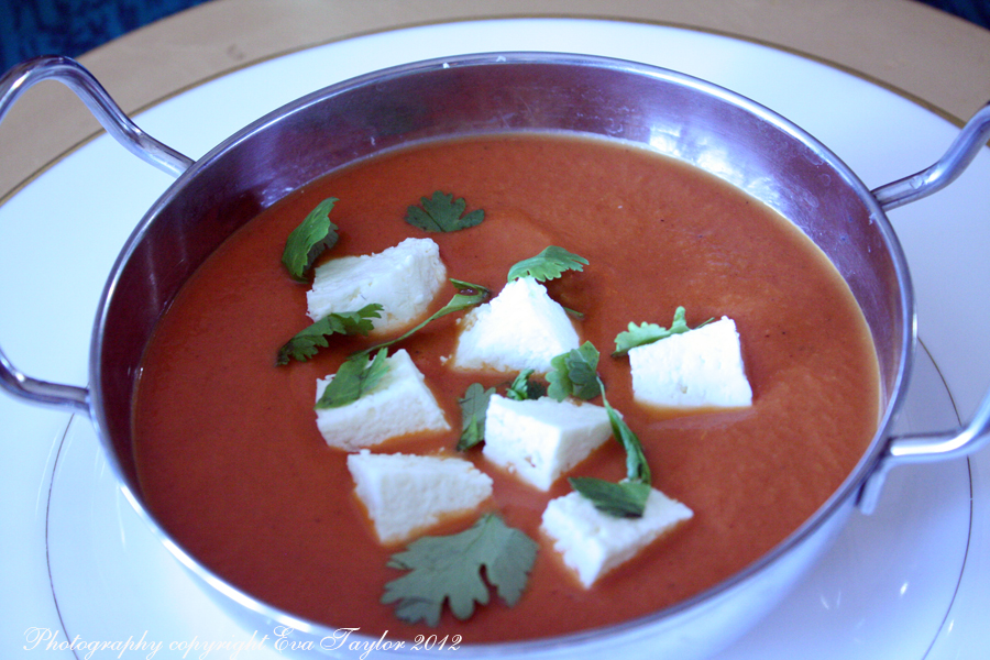 A delicious, rich tasting tomato gravy with gently firm paneer