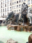 Bartholdi Fountain. There is smoke coming out of the horse's nostrils and water from their mouths!