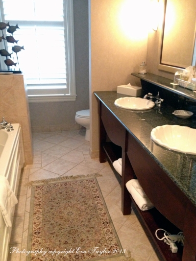 A large jacuzzi tub, separate shower, double sink, what more could you want? Heated floors.