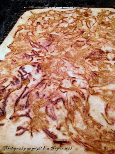 The onion caramelizes further in baking the focaccia