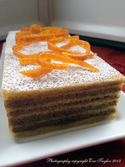 A mildly spiced layered cake