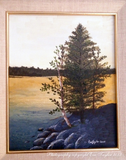This is an oil painting I painted in 2004 of the same view. It looks like our little birch finally bit the bullet.