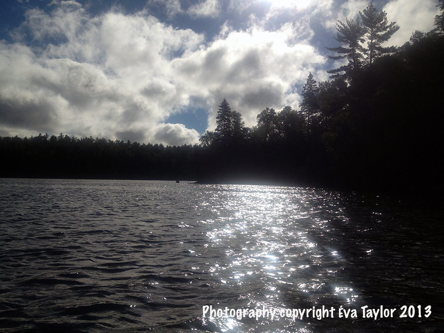 An early morning paddle shows the sparkly lake.