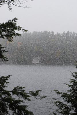 Snow flurries a few years ago. View from the dining room and kitchen.