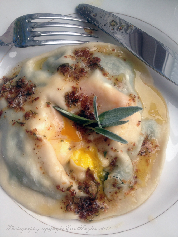 with roasted butter nut squash brown butter sage raviolo with egg ...