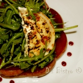 Arugula Salad with Drunken Poached Pears & Goat Cheese from Di's Bistro
